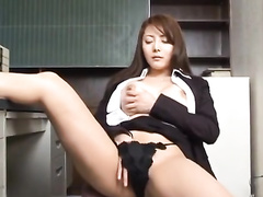 Hot Japanese office chick pleasantly masturbates at work