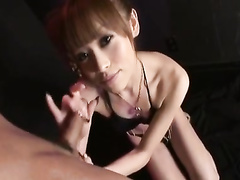 Skinny Japanese chick does awesome deepthroat blowjob
