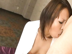 Japanese cutie gets undressed and hotly fucked in mouth