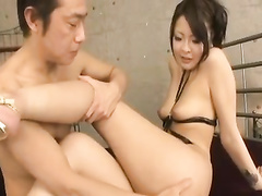 Oriental skinny chick is doing blowjob and getting banged