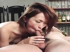 Japanese milf feel excited from passionate kisses and fondling
