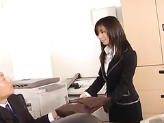 Hottie Asian office worker babe pleasures passionate fuck