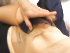 Petite Japanese chick gets hairy pussy stroked and passionately fucked