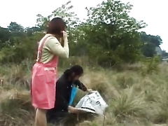Japanese guy seduces precious chick to fuck outdoors