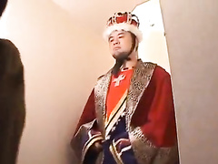 Asian king makes his servants to fuck the queen