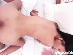 Skinny Thai girl with braces is doing deepthroat blowjob to white dick