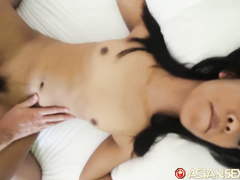Skinny young Philippine girl with small boobies and sexy butt fucks with tourist