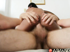 Sexy small boobed Philippine girl loved sucking wet dirty white dick after riding it
