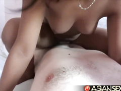 Charming cute Philippine girlfriends are sharing one white big dick