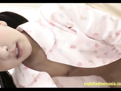Pig tailed cutie Asian girl is hotly showing off in cute pajamas before fucking hard