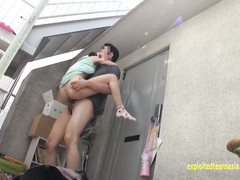 Dirty Asian fucker is sitting on teen chick's thighs and fucking her pussy from behind