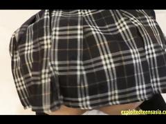 Skinny Japanese schoolgirl Mimi gets fucked hard dressed in uniform