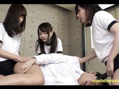 Dirty Japanese schoolgirls are fucking their classmate guy with strapon