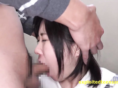 Two Japanese mature jerks trapped one beauty girl in hallway and fucked her mouth