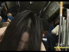 Adorable Japanese teen got roughly fucked by two dudes in the bus