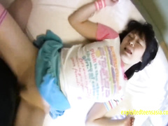 Japanese girl Aoi Tajima get fingered and fucked in hairy pussy